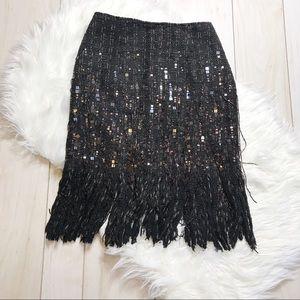 Lafayette 148 Black Wool Blend Sequin Beaded Skirt